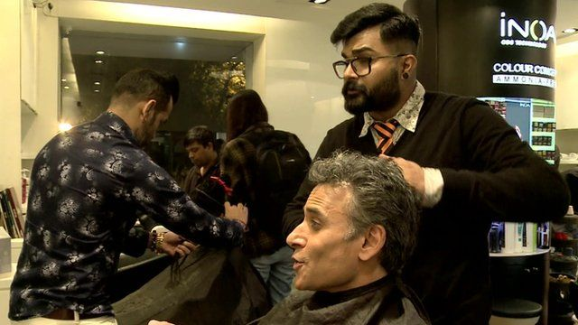 In a barbers in India