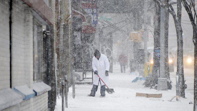 Snow falling in Brooklyn on 9 January