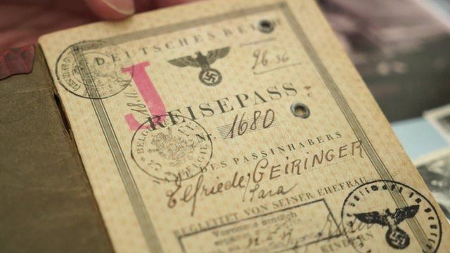 Eva's Nazi-era passport, after she was forcibly made into a German citizen from an Austrian one, replete with red J and the addition of 'Sara' to her name, something the Nazis made all Jewish women add