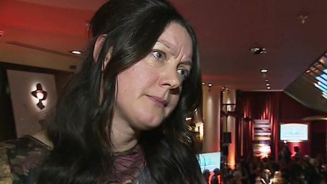 Author Helen Macdonald talking to the BBC after winning Costa 'Book of the Year' 2014