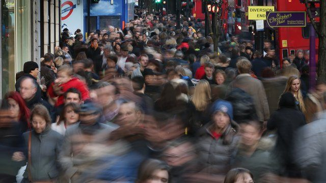 Crowds of people on Oxford Street, London