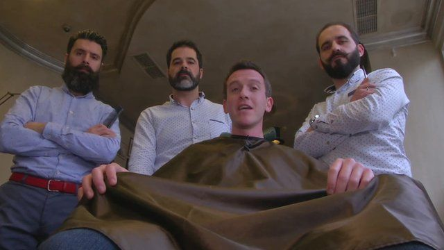 The BBC's Mark Lowen at a Greek barbers