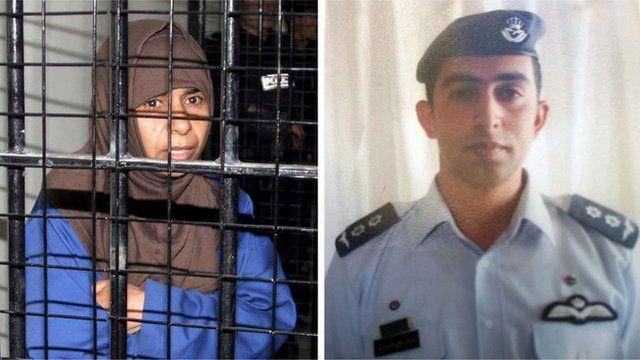 Sajida al-Rishawi and Moaz al-Kasasbeh (split picture)
