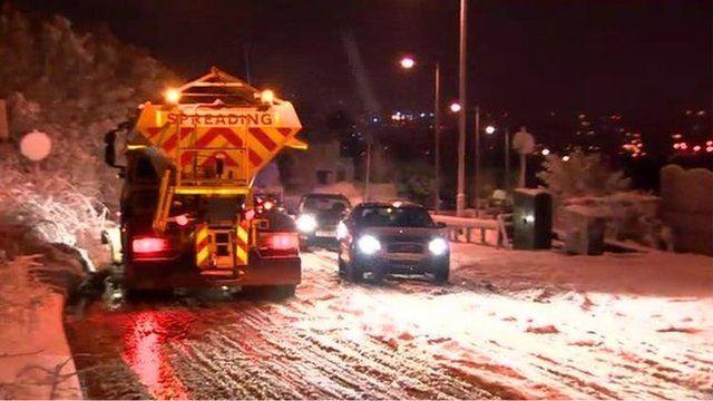 Gritter spreading salt on roads