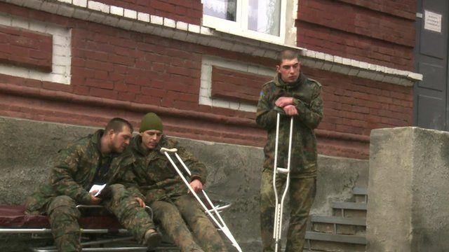 Injured Ukrainian troops