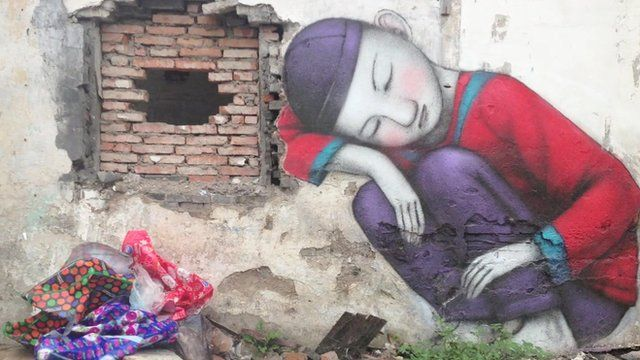 Art of wall in Shanghai demolition area