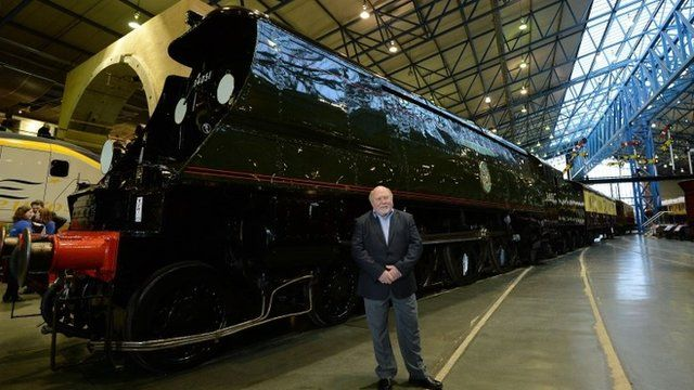 Jim Lester, the fireman who worked on board the footplate of the Winston Churchill hauling the funeral train, is reunited with the locomotive at the National Railway Museum, York, as the nation will remember how it said farewell to its wartime leader