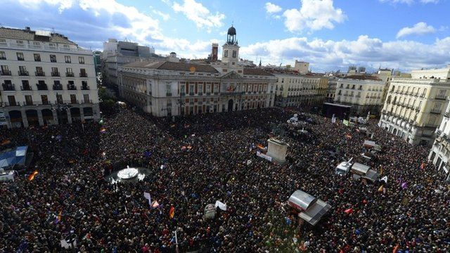 Thousands gather at a rally in Madrid planned by left-wing party Podemos
