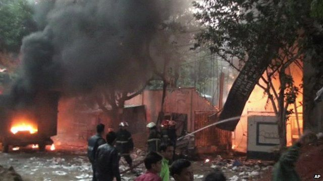 Fire fighters at scene of blazing plastics factory in the Bangladeshi capital, Dhaka