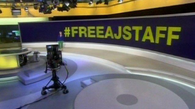 Screen shot of al-Jazeera studio