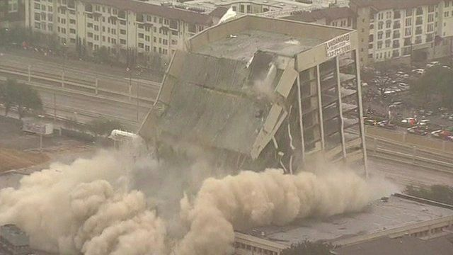 A building in Dallas is imploded
