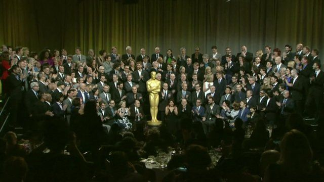 Oscar nominations and giant trophy statue