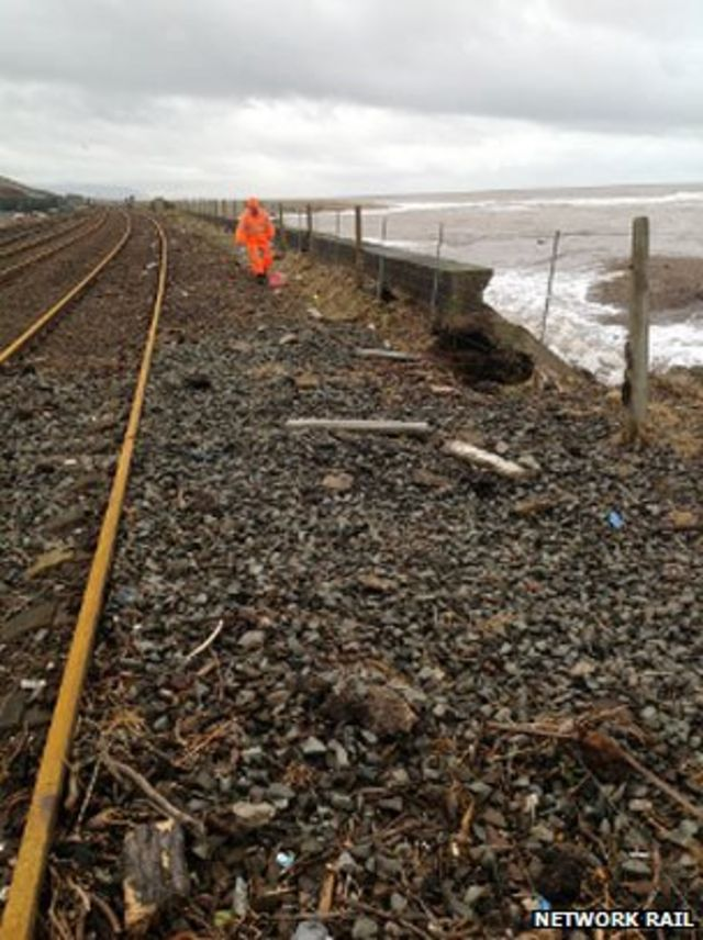 The railway lines alarmingly close to the sea