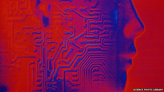 An artwork of a circuit board and a human head