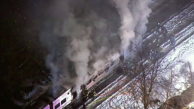 Emergency workers at scene of New York train crash