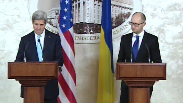 US Secretary of State John Kerry and Ukrainian Prime Minister Arseniy Yatsenyuk