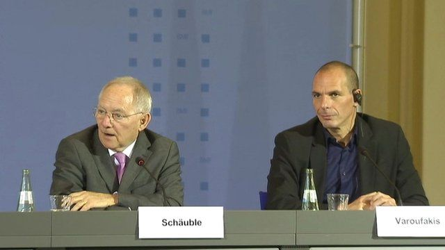 German and Greek finance ministers at press conference