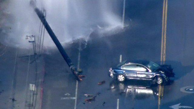 California car crash causes fire hydrant geyser