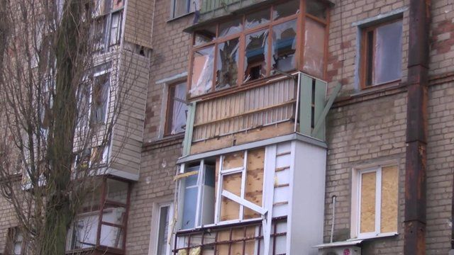 Building damaged by shelling