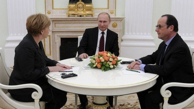"German Chancellor Angela Merkel (L), Russia""s President Vladimir Putin (C) and French President Francois Hollande attend a meeting on resolving the Ukraine crisis at the Kremlin in Moscow"