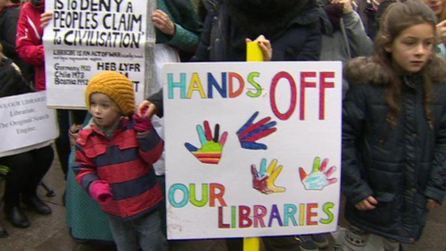 Protests in Cardiff against library cuts and closures