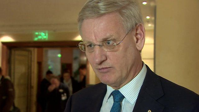 Former Swedish foreign minister Carl Bildt speaking to BBC at Munich Security Conference 2015
