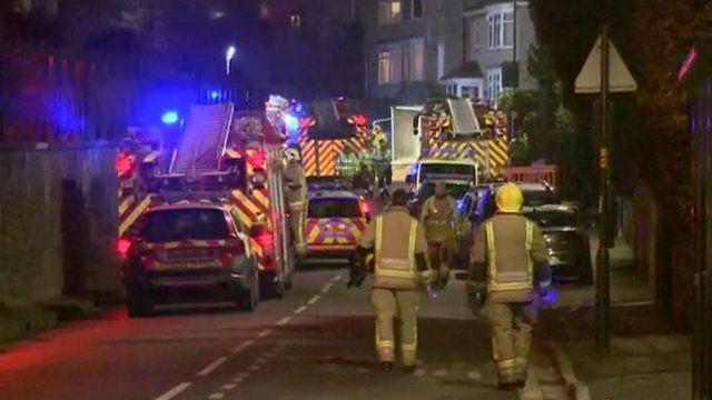 Fire engines at crash scene