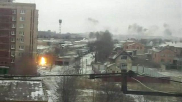 Still from amateur footage shows shelling in Kramatorsk, Ukraine, on 10 February 2015