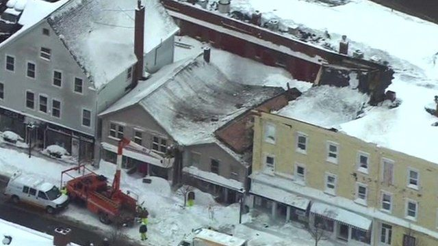 Collapsed roof on building in Boston