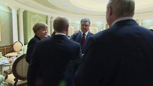 The leaders shake hands