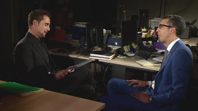HSBC whistleblower Herve Falciani talking to BBC business editor Kamal Ahmed