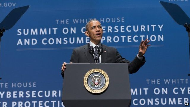 President Obama speaks during a summit on cyber security and consumer protection
