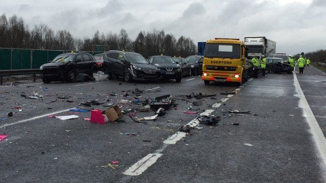 Several vehicles involved in the M40 pile up