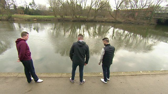 Andy Hill, James Williams and Micky Bramall at the spot where they rescued the baby