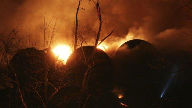 Burning train cars