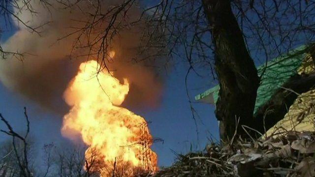 Pipeline burns near Debaltseve in Ukraine