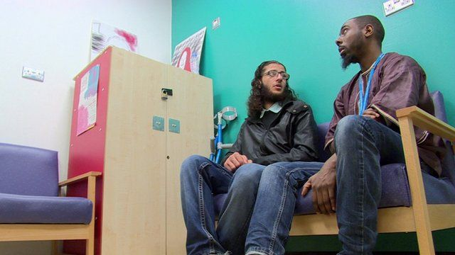 Gang violence victim with a youth worker