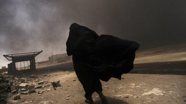 Woman in dust storm