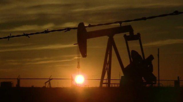 Jon Sopel reports from an area of West Texas where he number of oil wells  operating has dropped from 580 to 450 in three months