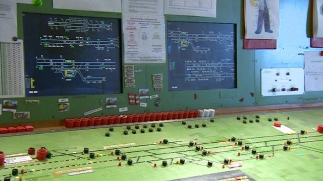 Inside the Swindon signal box looking at the control panel