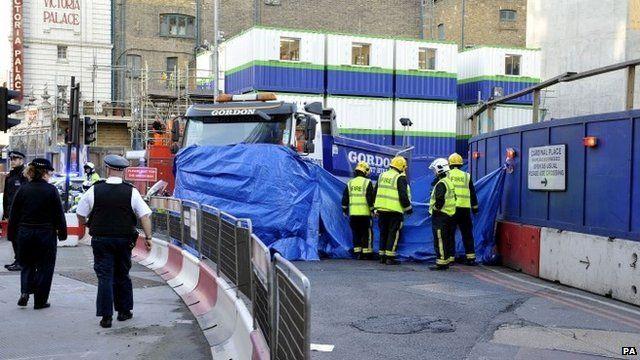 The accident scene in Victoria, central London