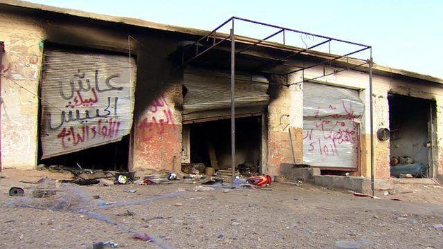 Empty shops in Mansouriya north of Baghdad