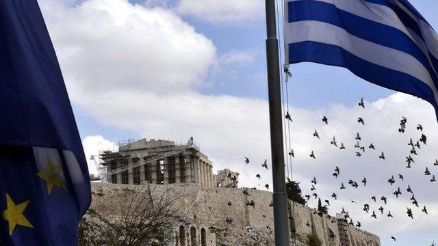 European and Greek flags near the Acropolis
