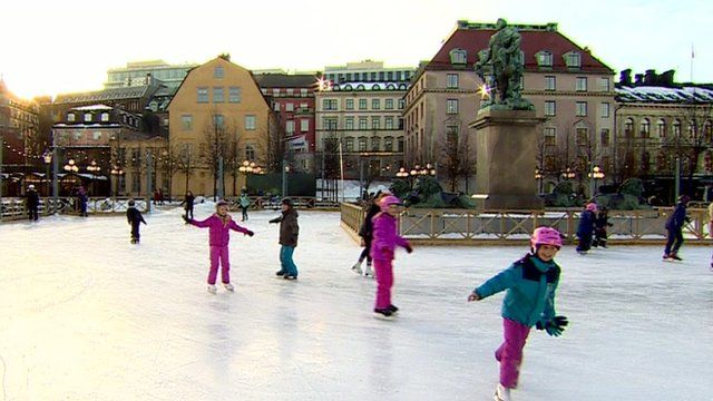 People ice skating in Sweden