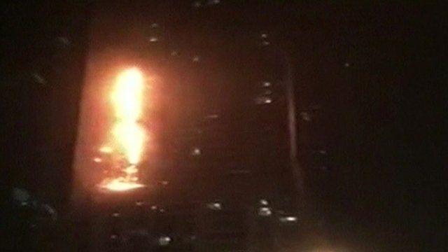 Burning skyscraper