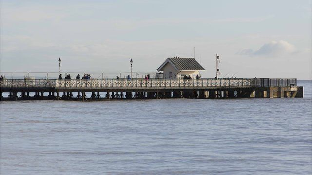 Penarth pier at high tide