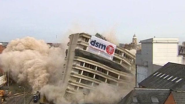 The demolition of New Walk office buildings in Leicester took place on Sunday morning