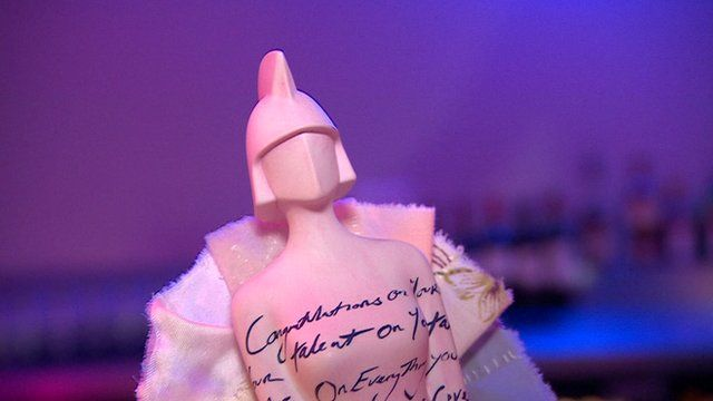Close up of Brit Award 2015 designed by artist Tracey Emin