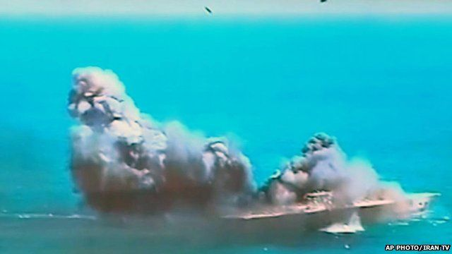 Still from Iranian TV of US replica aircraft carrier targeted during Iranian military exercises in Strait of Hormuz