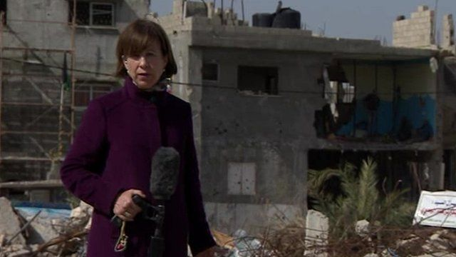 Lyse Doucet reporting from the rubble of Shejaiya, a neighbourhood of Gaza City